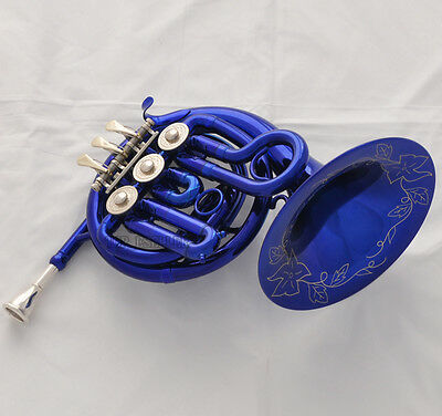 Quality Beautiful Blue Mini French Horn Engraving Bell Bb Pocket horn With Case