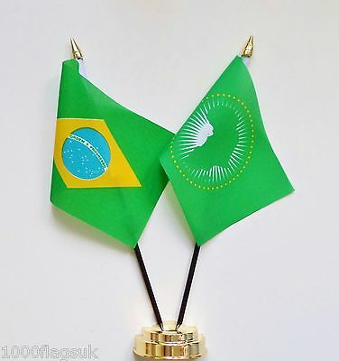 Brazil & African Union Double Friendship Table Flag Set