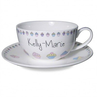 Personalised Tea Cup And Saucer - Cupcake Design