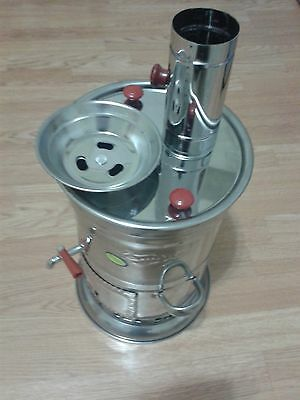 Samovar Charcoal Water Heater 4 L/150 oz Boat Camping Hiking Chrome Kettle BBQ