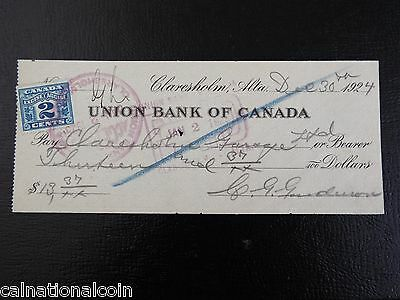 Union Bank of Canada Check 1924