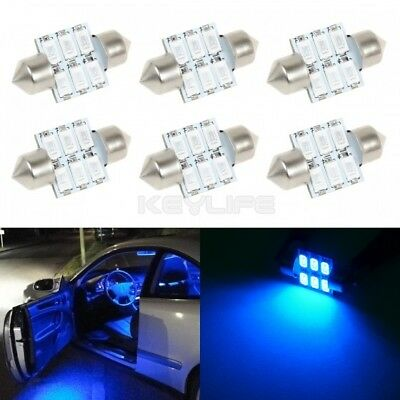 6x Xenon Blue 31mm 6SMD 5730 LED Festoon Interior Dome Map Light  DE3175 Bulbs