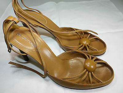 Sergio Rossi Strappy Leather Heels Tan  Shoes Size 39 1/2 - 10   As New