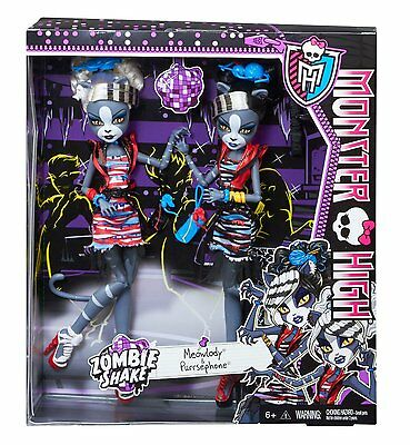 Monster High Zombie Shake Meowlody and Purrsephone Doll ~BRAND NEW~