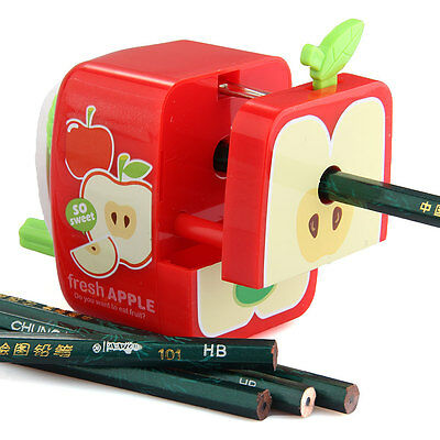 Apple Style Pencil Sharpener Manual Hand Crank Rotary Student Desktop