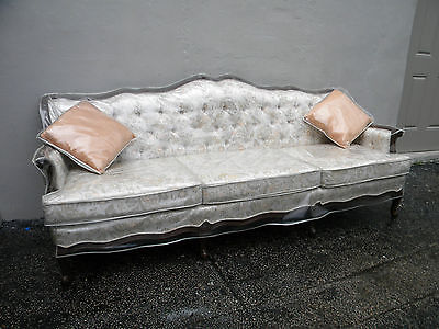 FRENCH LONG CARVED TUFTED COUCH / SOFA WITH COVER #2658