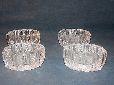 VTG SET OF 4 UNIQUE STAR BURST CUT CRYSTAL/ GLASS SALT CELLARS/BOWLS/OPEN SALTS!