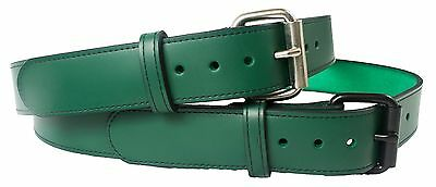 "Leather Belt Green 1.50"" Genuine Leather New Handmade Removable Buckle"