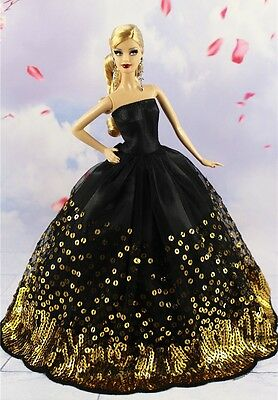 Fashion Princess Party Black Sequin Dress Wedding Clothes/Gown For 11.5in.Doll 2