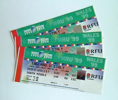 RARE Rugby World Cup Memorabilia - Tickets Stub(s) England V Italy 02/10/99