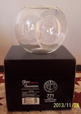 Glass Dimensions 2 Sided Cube Oil Lamp 771