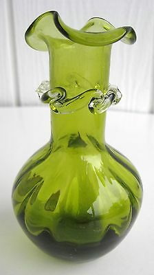 Vintage Pilgrim Art Glass Mini Vase Green Olive Ruffle Scallop Applied Rigaree