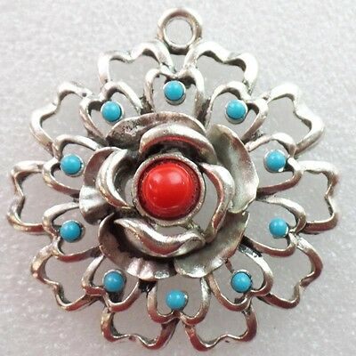 R5652 Excellent Tibetan Silver inlay Turquoise Flower Pendant Bead