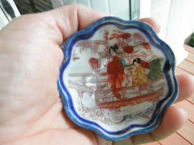 Vintage Hand Painted , Scalloped miniature bowl,  made in Japan