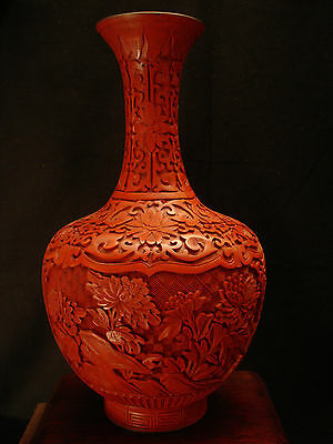 "12 1/2"" H VINTAGE CHINESE 1900's CINNABAR LACQUERED WOOD VASE / ENAMEL INSIDE"
