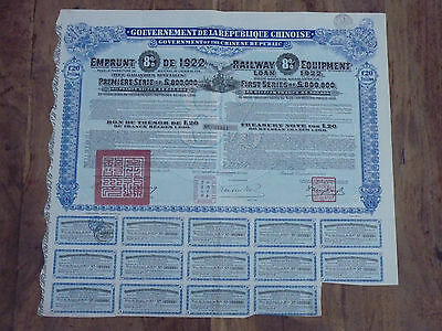 Chinese Government,  Railway Equipment Loan of 1922