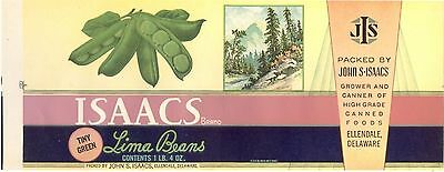 ISSACS Brand Tiny Green Lima Beans Label