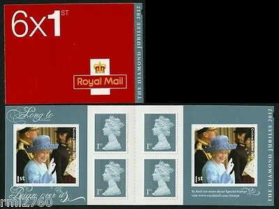 2012 DIAMOND JUBILEE MIXED BOOKLET PM33 6 x 1st Class Non Cylinder