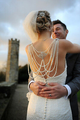 Bridal Back Jewellery - Statement  Draped Vintage Inspired Piece Backless Dress