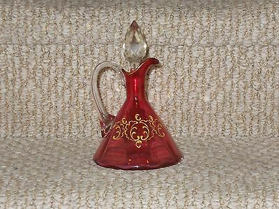 Vintage Cranberry Teepe Cruet with Gold Enamel Accents