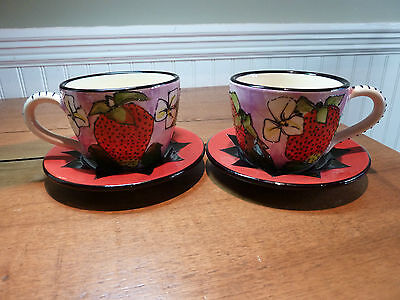 S/2 HANDMADE ART POTTERY STRAWBERRY DECORATED TEACUPS SIGNED, MUST SEE