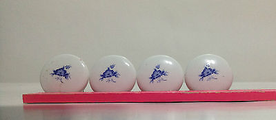 Vintage Set Of 4 White Porcelain, Flower Printed, Drawer / Vanity Knobs / Pulls