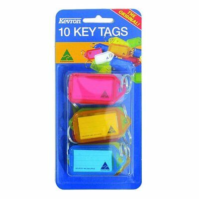 Plastic Key Tags -KEVRON- Card of 10 MIXED  KID5-FREE POSTAGE