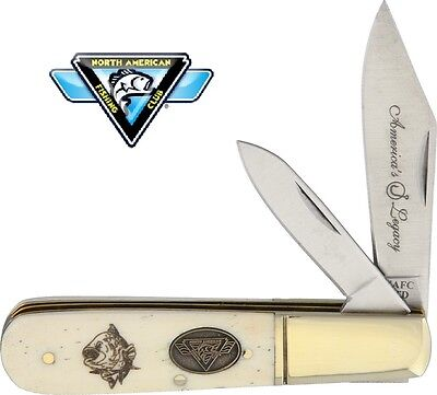 North American Fishing Club Barlow Two Blade Pocket Knife - Bone Handles F1710