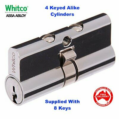 4 KEYED ALIKE Whitco Security Door Cylinder-Suits Doric, Austral, Tasman W842500
