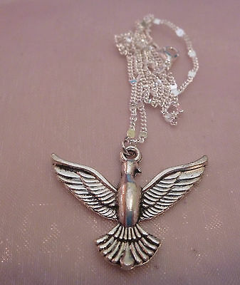 Silver Plated Large Pretty Bird Dove Wings Peace Sign Chain Necklace Free Post