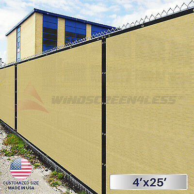 4'(H) x 25'(W) Fence Privacy Wind Screen Shade Cover Mesh Shade Canopy w/Zip Tie