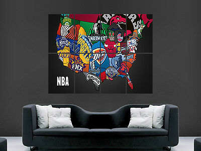 Basketball Nba Map Of Usa In Crests Badges   Art Huge Giant Poster Print Large
