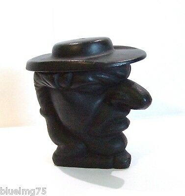 Vintage Cast Iron Black Figural Man Head TOBACCO JAR