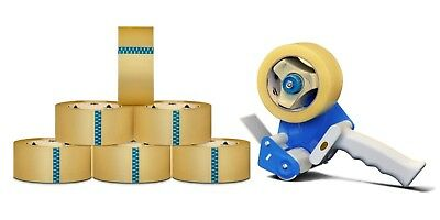 """24 Rolls Clear Packing Self Adhesive Tape 3"""" x 55 Yards 1.75 Mil + 3"""" Dispenser"""
