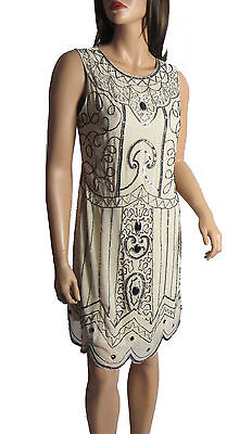 New Nude 1920's Gatsby fully embellished shift dress sizes 8 To 24 Plus Sizes
