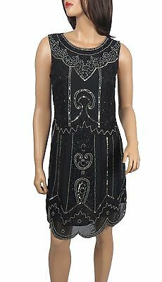 New Black 1920's Gatsby fully embellished shift dress from size 8 to PLUS SIZES