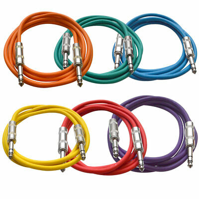 """SEISMIC AUDIO 6 PACK Colored 1/4"""" TRS 6' Patch Cables"""
