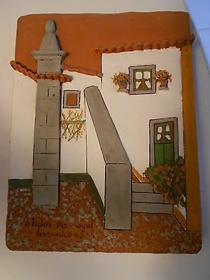 """CLAY ART POTTERY-PORTUGAL  HOUSE PLAQUE-DATED 92-SIGNED-VG+  5"""" X 6 1/2"""" X 3/4"""""""