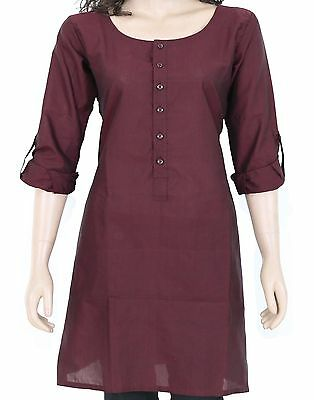 Ethnic Indian Meroon Cotton Short Kurta Kurti Top Tunic Full Sleeve 903156