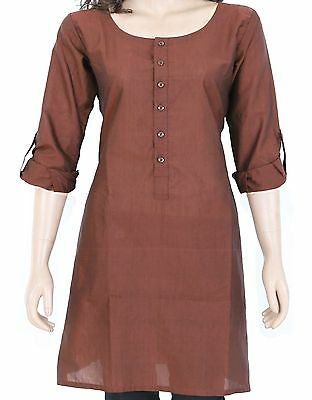 Ethnic Indian Rust Cotton Short Kurta Kurti Top Tunic Full Sleeve 903178