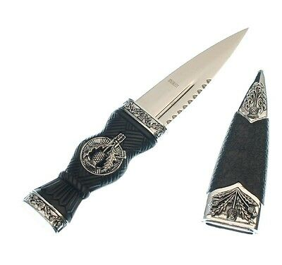 "Celtic Scottish Sgian Skean Dubh Dirk Dagger 7"" Knife Thistle Design Handle"