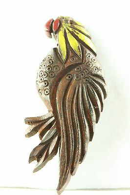 Very Tall Vintage 1930's 1940's Painted Carved Wood Parrot Bird Pin