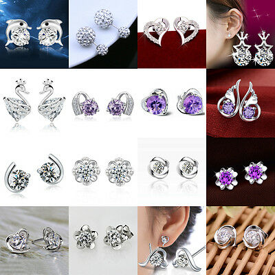 925 Sterling Silver Fashion Lady Elegant Crystal Rhinestone Ear Stud Earring Hot