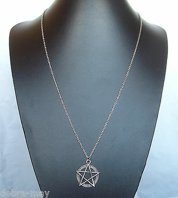 """Pentagram Pentacle Pendant 32"""" Extra Long Chain Necklace - Wiccan Pagan Gothic"""