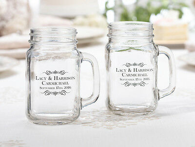 MR & MRS OR PERSONALIZED WEDDING BEER MASON GLASSES! single or set!