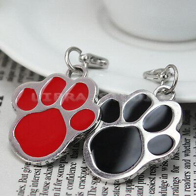 2Pcs Puppy Pet Dog Cat Paw Foot Print ID Name Collar Personalized Tag Pendant