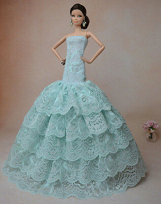 Royalty Mermaid Dress Party Dress/Wedding Clothes/Gown For Barbie Doll F05