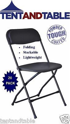 20 Black Folding Chairs Plastic Steel Stackable Christmas Party Event Chair