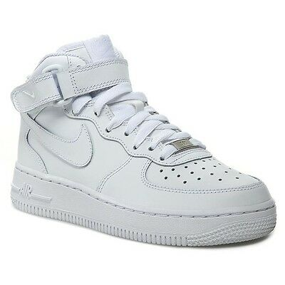 New Nike Air Force 1 Mid GS SIZES Leather Basketball Shoes Sneakers YOUTH White