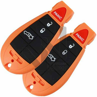 2 New Orange Replacement Key Remote Keyless Entry Fob Prox for Fobik Trunk